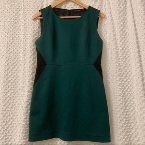 TAHARI Green & Black Sleeveless Shift Dress